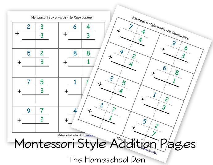 Free Montessori Style Addition Sheets (And Place Value