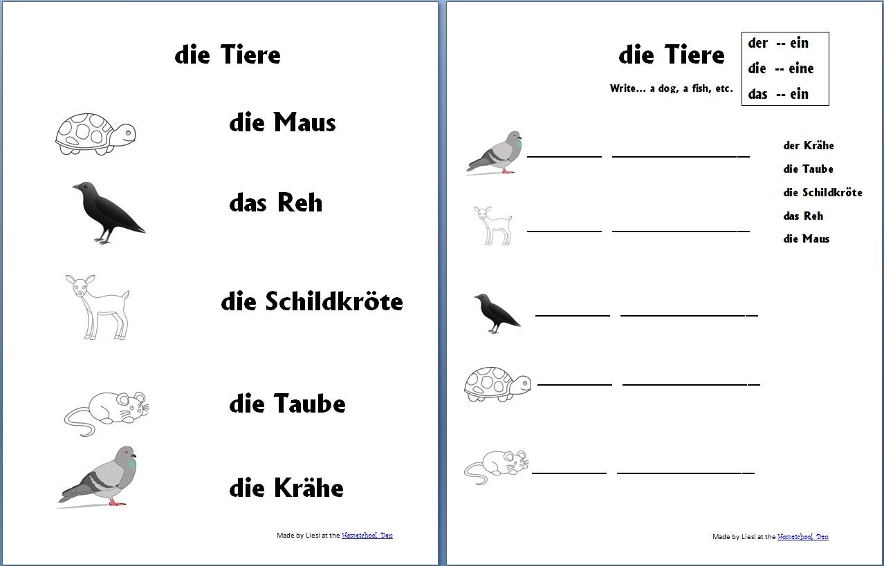 Free German Worksheet Packet On Animals