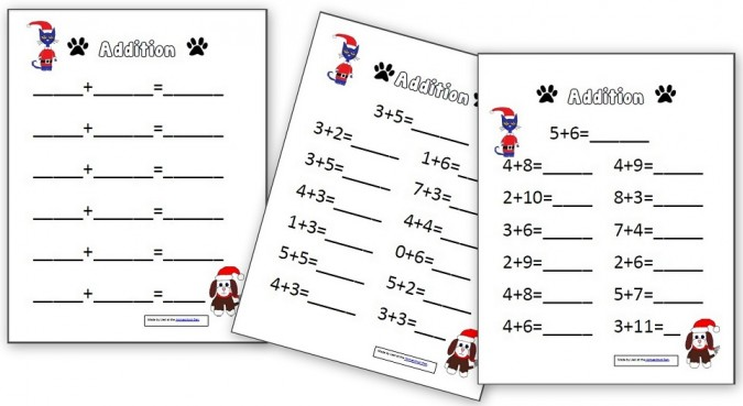 Christmas Addition Worksheets with Pete the Cat