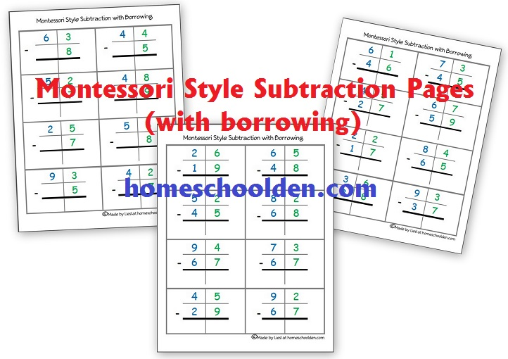 Montessori Subtraction Pages With Borrowing