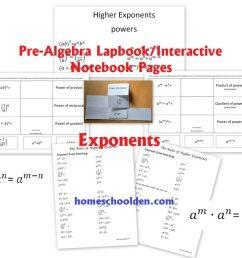 PreAlgebra - Exponents Worksheet and Interactive Notebook Pieces -  Homeschool Den [ 785 x 1024 Pixel ]