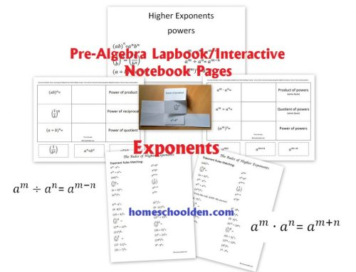 small resolution of PreAlgebra - Exponents Worksheet and Interactive Notebook Pieces -  Homeschool Den