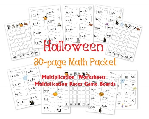 small resolution of Free 30-Page Halloween Multiplication Packet: Math Worksheets and Games -  Homeschool Den
