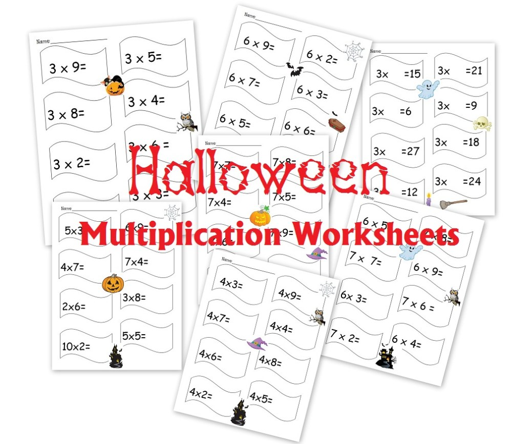 medium resolution of Free 30-Page Halloween Multiplication Packet: Math Worksheets and Games -  Homeschool Den