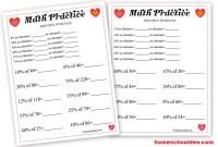Valentine's Day Math - Percent Worksheet - Homeschool Den
