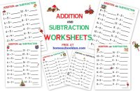 Addition - Subtraction FREE Christmas Math Worksheets ...