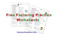 Factoring Practice Worksheets - Holiday Theme - Homeschool Den