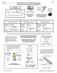 The Law Of Conservation Of Momentum Worksheet Answers ...