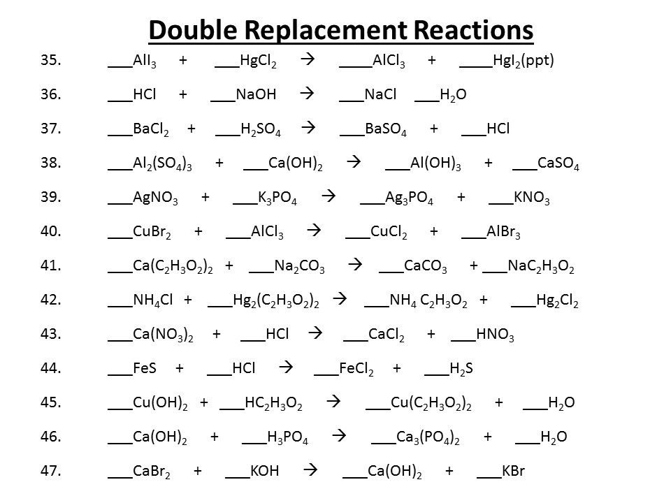 Chemistry Double Replacement Reaction Worksheet ...