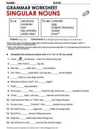 High School Grammar Worksheets