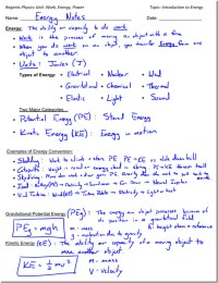 Kinetic and Potential Energy Worksheet ...