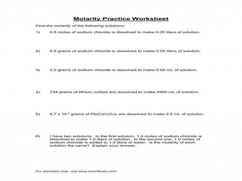 Molarity Calculations Worksheet