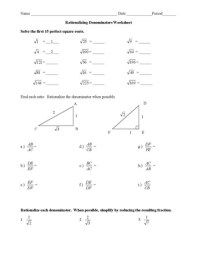 Rationalizing the Denominator Worksheet ...
