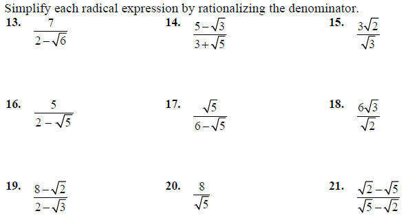 Rationalizing the Denominator Worksheet