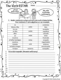 Printable Worksheets  Ser Vs Estar Practice Worksheets