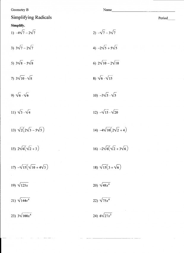 Simplifying Radicals with Variables Worksheet