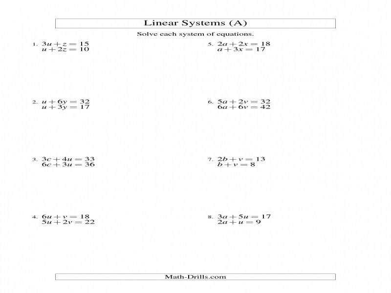 solutions to systems of equations worksheet