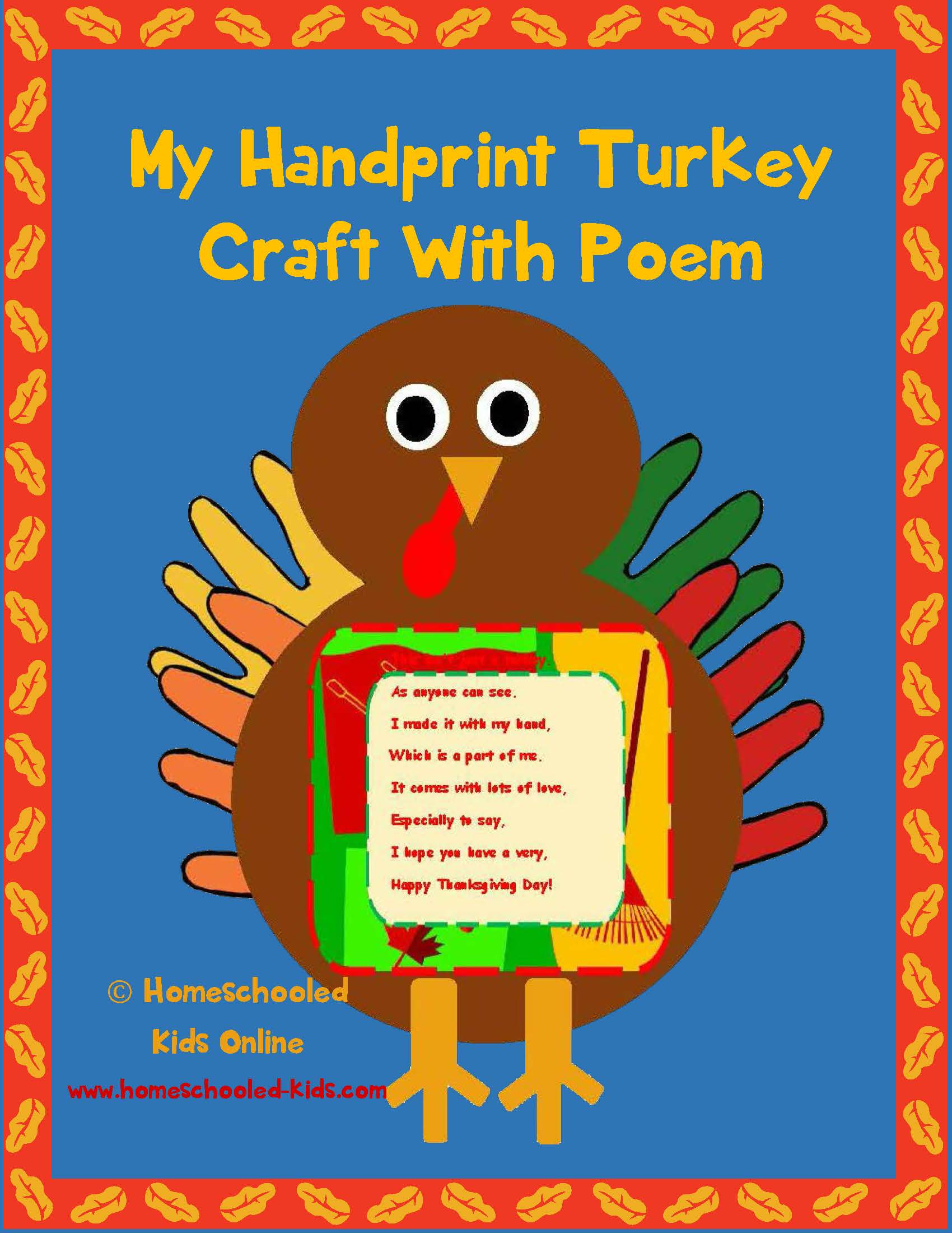 Magazine For Homeschooled Kids Hand Print Turkey Craft
