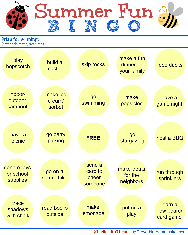 Summer Themed Free Printable Bingo Games