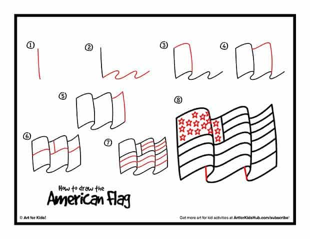 FREE How to Draw an American Flag Printable