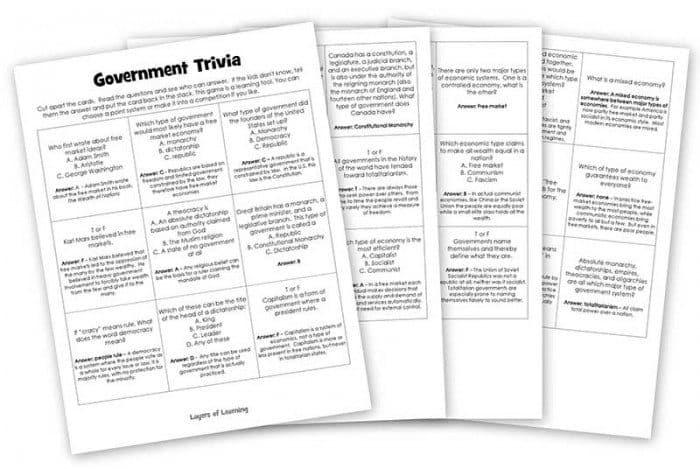 FREE Government Trivia Printables