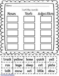 FREE Noun-Verb-Adjective Printable