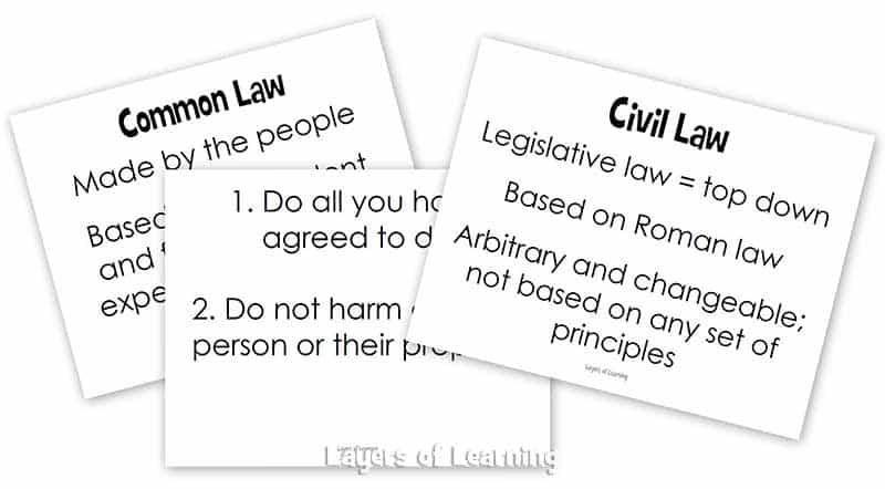 Common Law vs. Civil Law FREE Printables