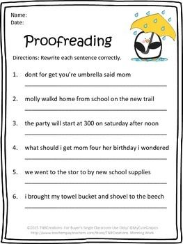 Free Printable Proofreading Worksheet