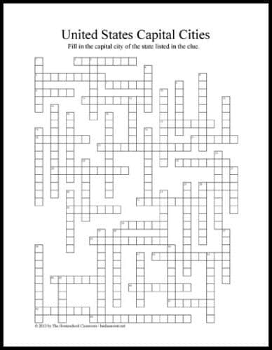 FREE Printable US Capital Cities Crossword Puzzle