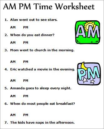 FREE Printable AM/PM Worksheet - Homeschool Giveaways