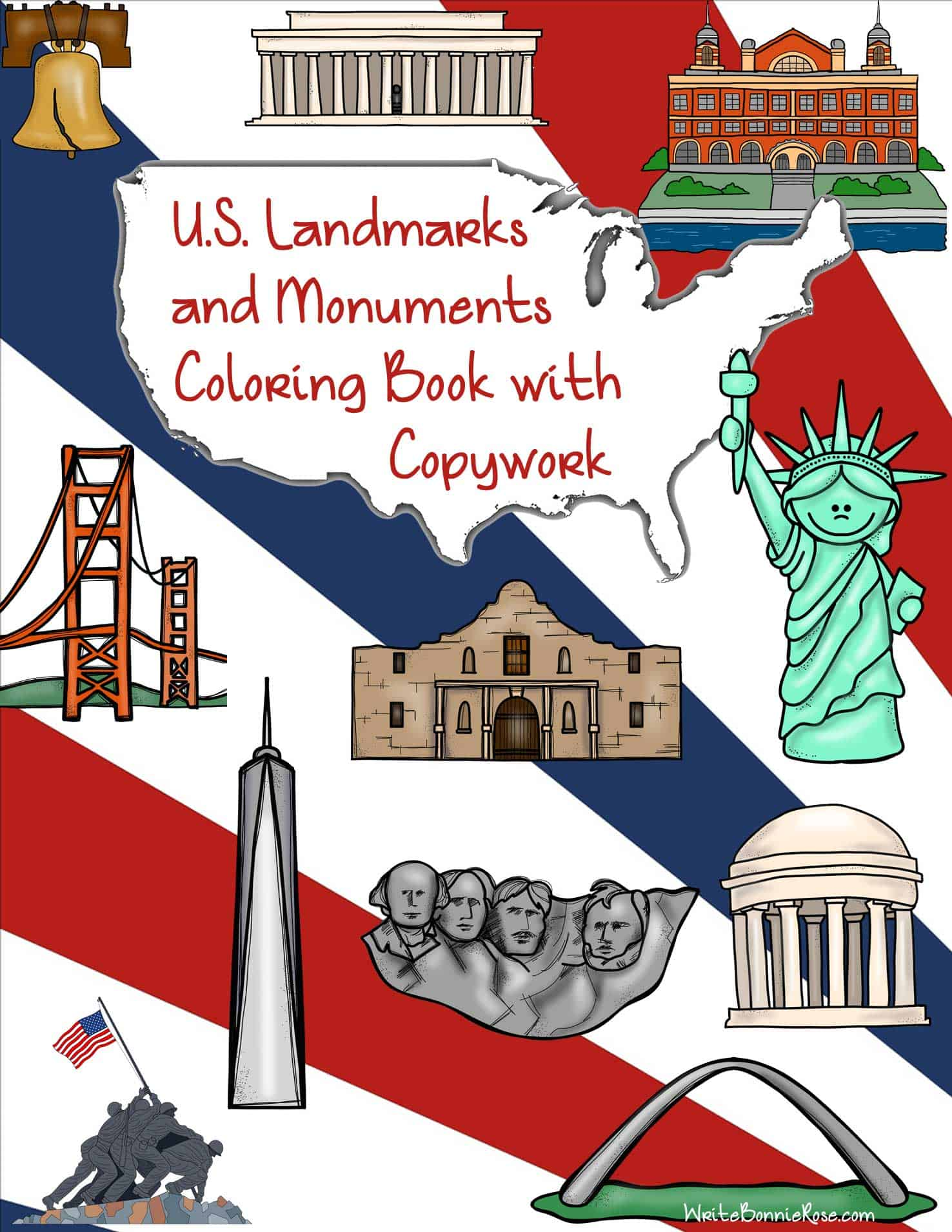 Free Us Landmarks And Monuments Coloring Book