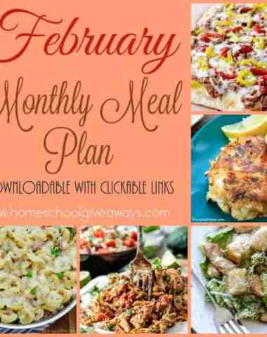 Looking for some help with dinner? Are you stuck in a rut? Check out the February Meal Plan! Includes a downloadable PDF with clickable links directly to delicious recipes. :: www.homeschoolgiveaways.com