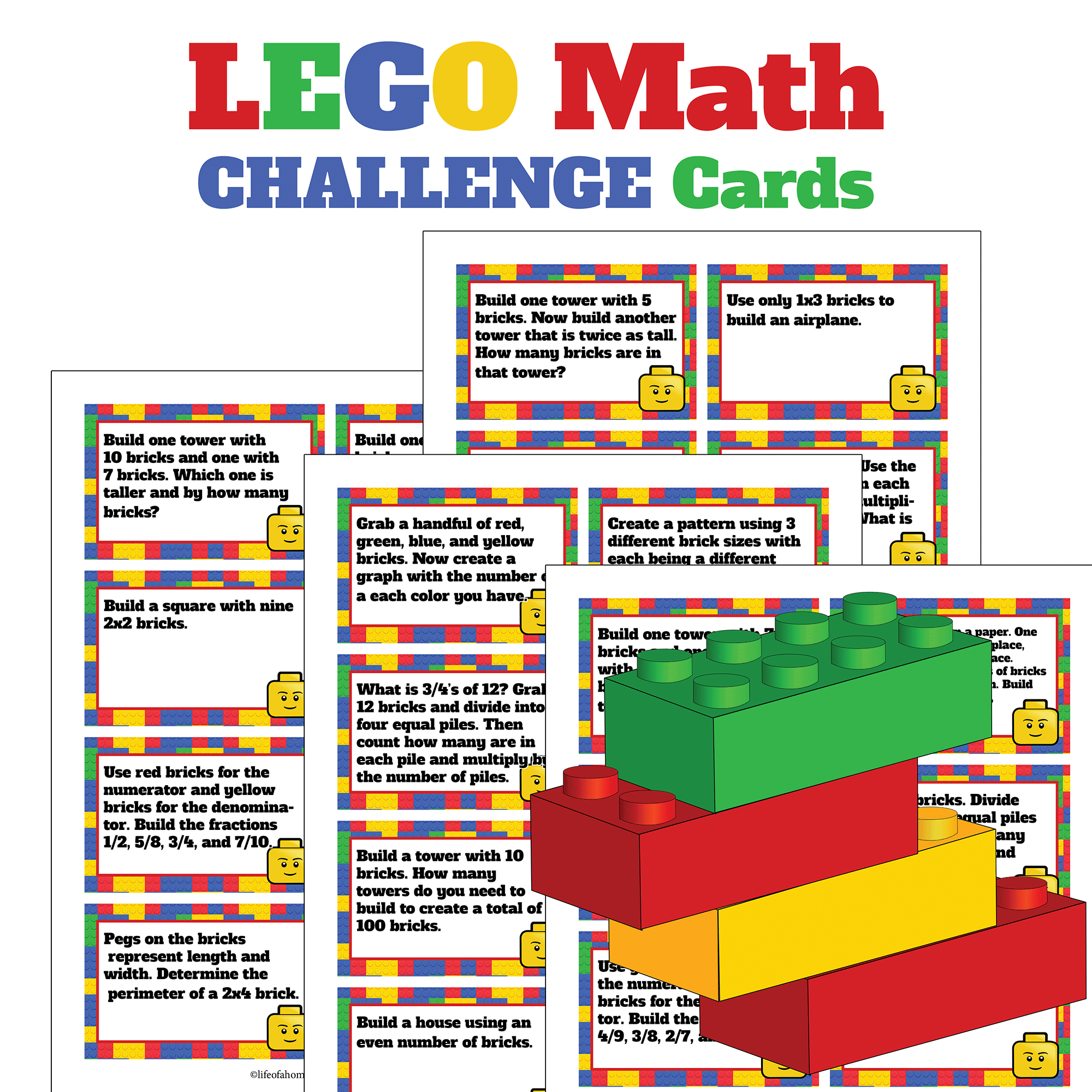 Free Download Lego Math Challenge Card Sets
