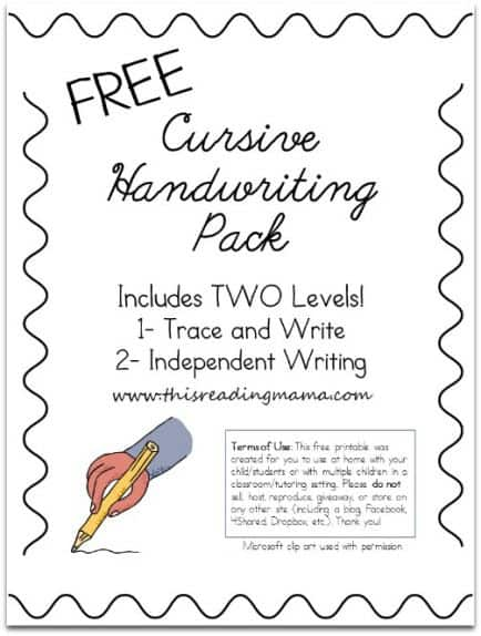 FREE Printable Cursive Handwriting Sheets