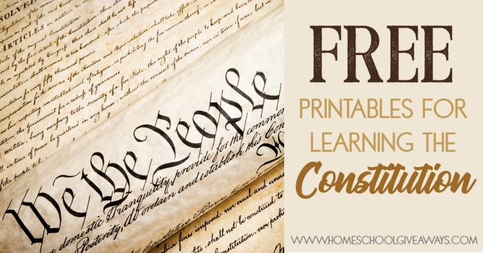 Free Printables For Learning The Constitution Free
