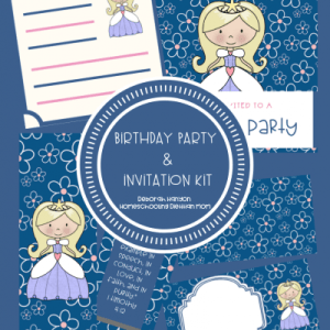 Downloadable Birthday Party Invitation Kit with Table Place Cards