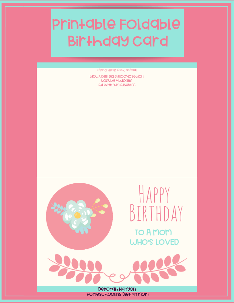 photograph relating to Printable Birthday Cards for Mom named Printable Birthday Card - Mother - Homeschooling Dieian Mother