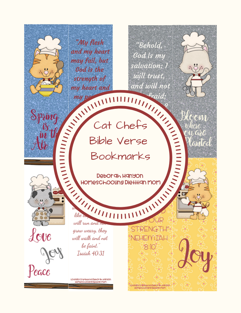 graphic about Printable Bible Bookmarks named Cat Chef Bookmarks - Homeschooling Dieian Mother