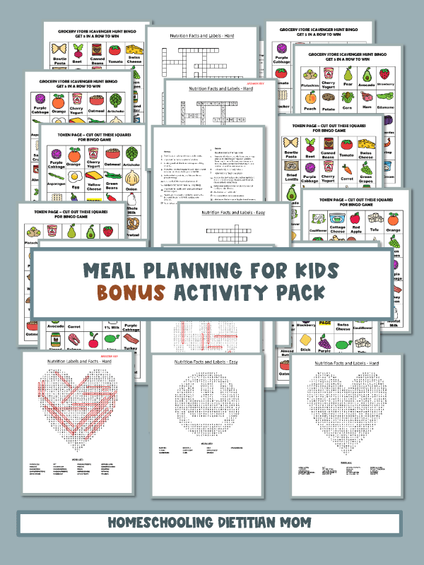 Meal Planning Activities Book