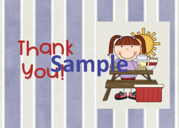Summer Thank You Card - Girl