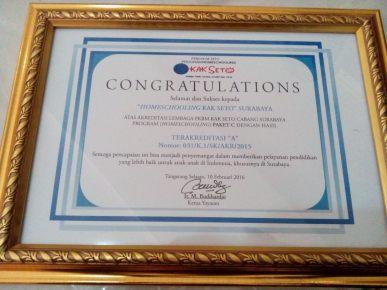 Congratulation dari Homeschooling Kak Seto Pusat untuk PKBM Kak Seto Surabaya yang berhasil meraih Akreditasi A dari BAN-PNFI
