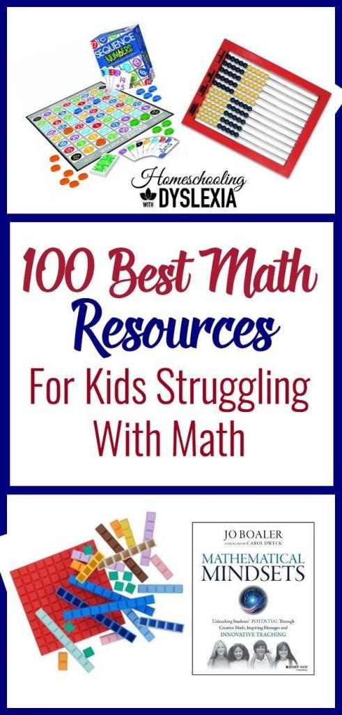 100+ of the best books, websites, games, curricula, apps and books for teaching math, especially for those who struggle with math. #math #mathresources #homeschooling #strugglinglearners