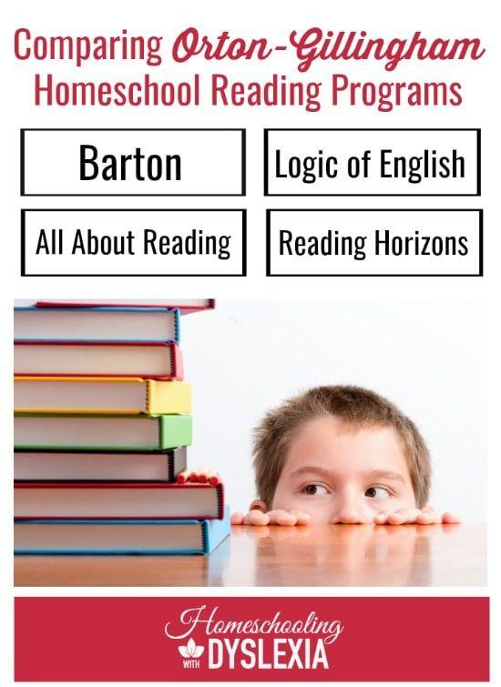 Teaching kids with dyslexia to read at home has never been easier thanks to the development of more and more user-friendly Orton-Gilligham programs. The programs in this comparison of the top 4 Orton-Gillingham reading programs were chosen because they are affordable and designed to be used by parents at home.  HomeschoolingwithDyslexia.com #reading #dyslexia #ortongillingham #readingprograms #homeschoolcurriculum