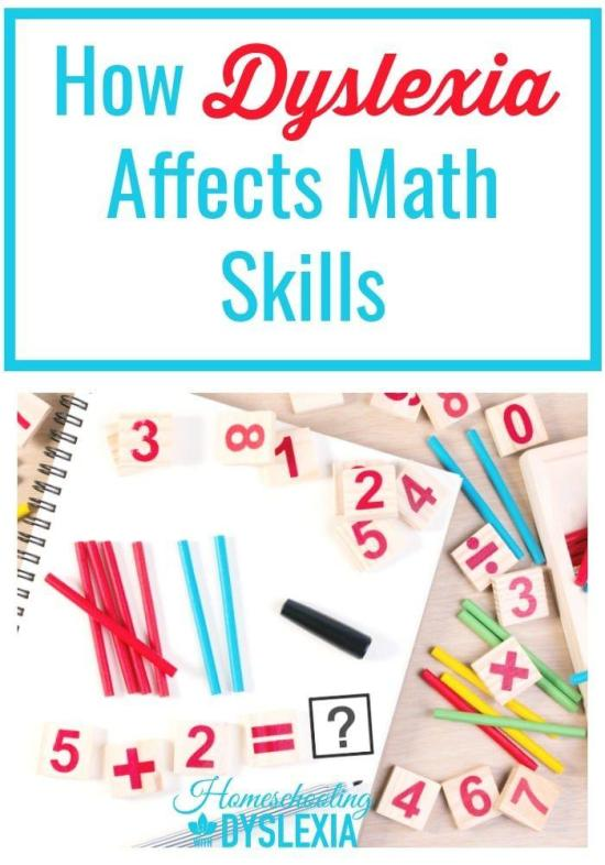 Imagine my joy at discovering that my kids were a part of the 20-60% of kids with dyslexia who also have dyscalculia! Learn more about the link between dyslexia and dyscalculia or how dyslexia can affect math skills. #Mathskills #dyslexia #dyscalculia #homeschooling HomeschoolingwithDyslexia.com