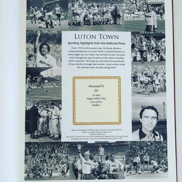Personalised Luton Town FC Sporting Highlights Book
