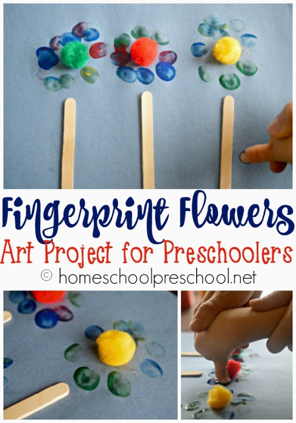 Homeschool Preschool Fingerprint Flowers Art Project