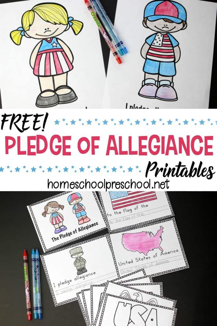 hight resolution of Free Preschool Pledge of Allegiance Printables