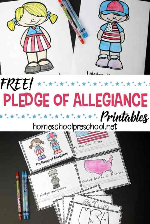 small resolution of Free Preschool Pledge of Allegiance Printables