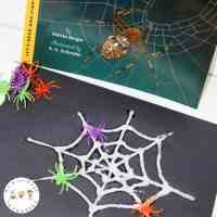 Spinning Spiderweb Salt Painting Craft and Printables
