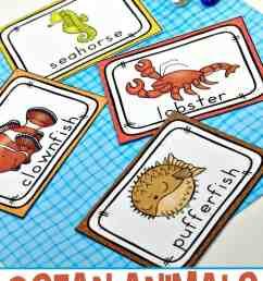 Free Printable Ocean Animals Flashcards for Preschoolers [ 1100 x 735 Pixel ]